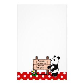 Personalized Panda Cartoon and Polka Dots Personalized Stationery