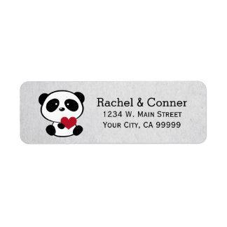 Personalized Panda Love Wedding Address Labels
