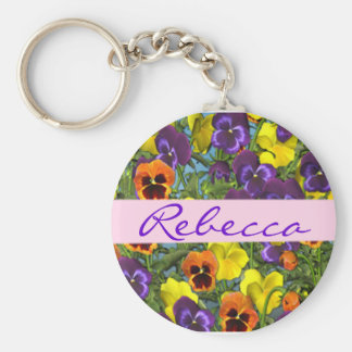 Personalized Pansies Floral Keychain