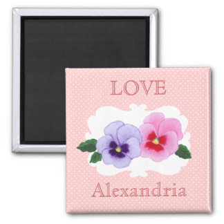 Personalized Pansies Floral Magnet