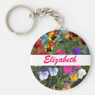 Personalized Pansy Flowers Keychain