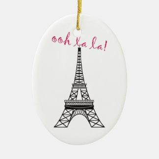 Personalized Paris Eiffel Tower Christmas Ornament
