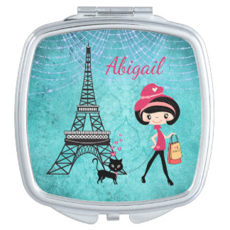 Personalized Paris Girl and Cat With Eiffel Tower Makeup Mirror