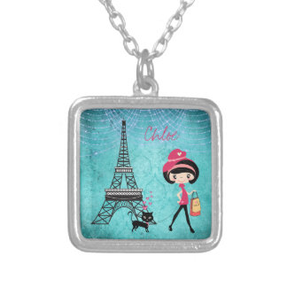 Personalized Paris Girl and Cat With Eiffel Tower Silver Plated Necklace