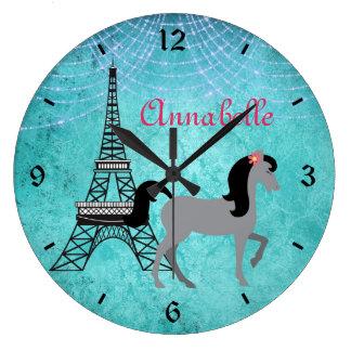 Personalized Paris Pony Oh La La Grey Horse Large Clock