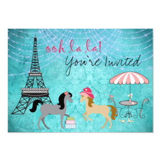 Personalized Paris Pony Oh La La Grey Horse Party Card