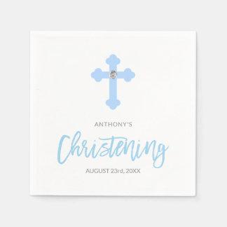 Personalized Pastel Blue Boy Cross CHRISTENING Disposable Serviette