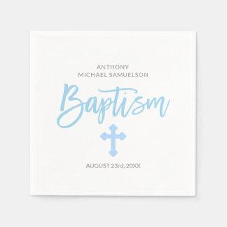 Personalized Pastel Blue White Boy Cross BAPTISM Disposable Serviette