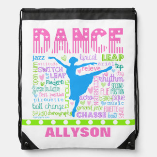 Personalized Pastel Dancer Words Typography Drawstring Bag