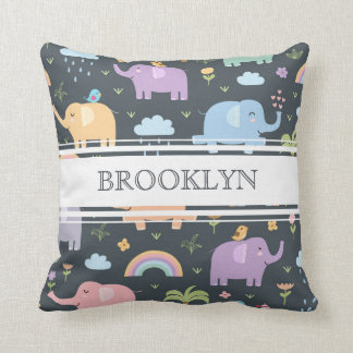 Personalized Pastel Elephants and Rainbows Pillow