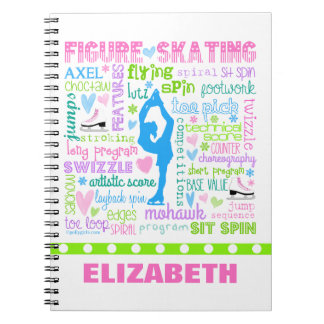 Personalized Pastel Figure Skater Words Typography Notebook