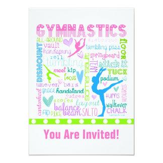 Personalized Pastel Gymnastics Words Typography 13 Cm X 18 Cm Invitation Card
