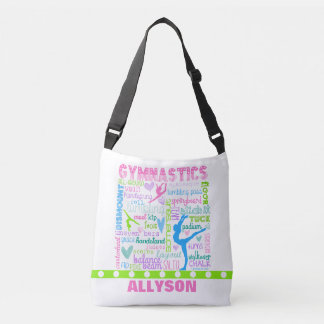 Personalized Pastel Gymnastics Words Typography Crossbody Bag