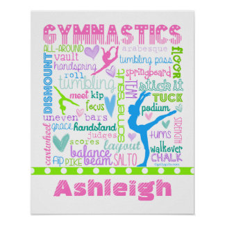 Personalized Pastel Gymnastics Words Typography Poster