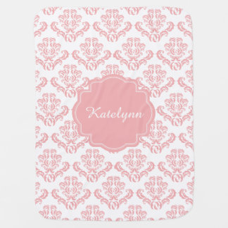 Personalized Pastel Pink Damask Print Baby Blanket