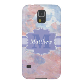 Personalized Pastel Watercolors Name and Monogram Galaxy S5 Cases