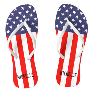 Personalized patriotic American flag flip flops Thongs