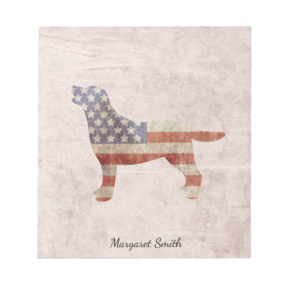 Personalized Patriotic Labrador US Flag Notepad