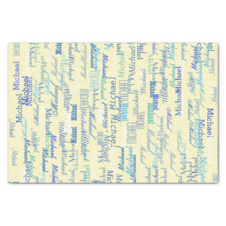 personalized pattern of color names on yellow tissue paper