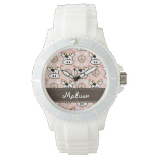 Personalized Peace Love Cows Watch