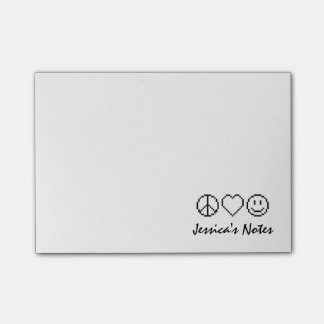 Personalized peace love happiness Post-it® notes