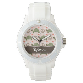 Personalized Peace Love Turtles Watch