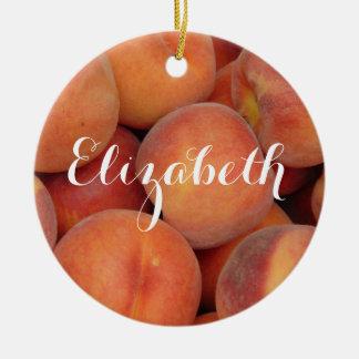 Personalized Peach Ceramic Ornament