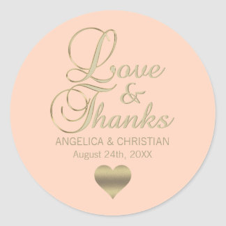 Personalized PEACH Gold LOVE & THANKS Wedding Classic Round Sticker
