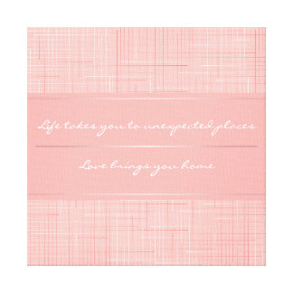 Personalized Peach Pink Line Pattern Design Canvas