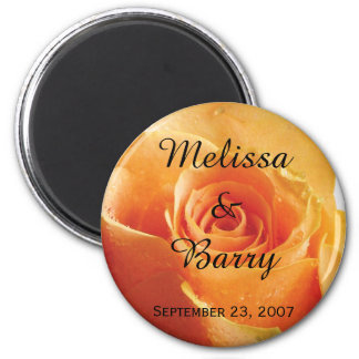 Personalized Peach Rose Wedding Magnet