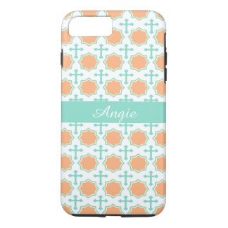 Personalized Peach Star Octagons & Crosses Pattern iPhone 7 Plus Case