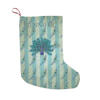 Personalized Peacock Christmas Stocking Vintage