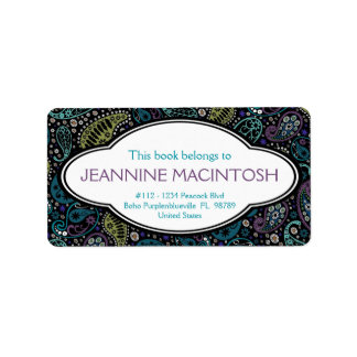 Personalized Peacock Paisley Pattern Bookplate Label