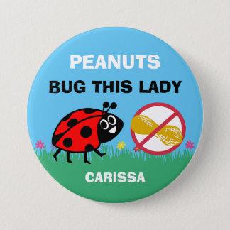 Personalized Peanut Allergy Alert Ladybug 7.5 Cm Round Badge