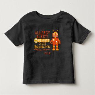 Personalized Peanut Allergy Alert Orange Robot Toddler T-Shirt