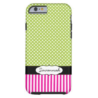 Personalized Peapod Lime Polka Dot Pink Stripe Tough iPhone 6 Case