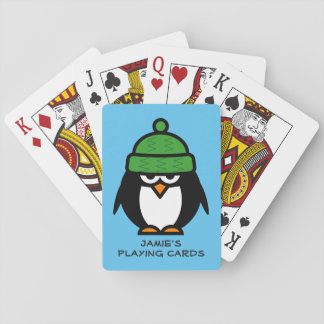 Personalized penguin design playing cards for kids