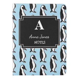 Personalized Penguins Print Monogram Notebook