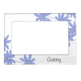 Personalized Periwinkle Blue Daisies Picture Frame Frame Magnets