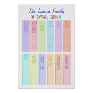 Personalized Perpetual Birthday Calendar Poster