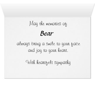 Personalized Pet Bereavement Sympathy Card SPO