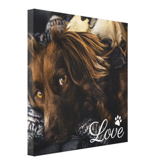 Personalized Pet Dog | Pawprint Love Canvas Print