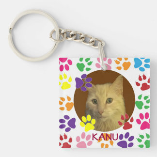 Personalized Pet Photo and Name double-sided Key Ring