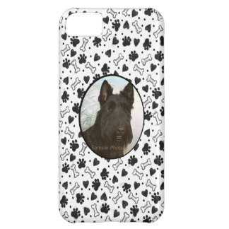 Personalized Pet Photo Black and White Dogbone Paw iPhone 5C Case