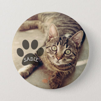 Personalized Pet Photo Button with Paw Print