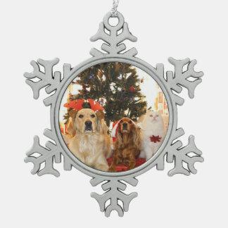 Personalized Pet Photo Christmas Snowflake Ornamen Snowflake Pewter Christmas Ornament