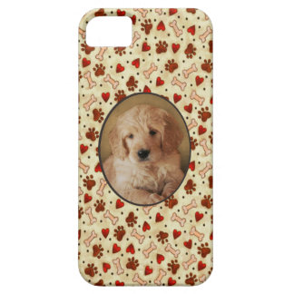 Personalized Pet Photo Dogbone Paws with Hearts iPhone 5 Cases