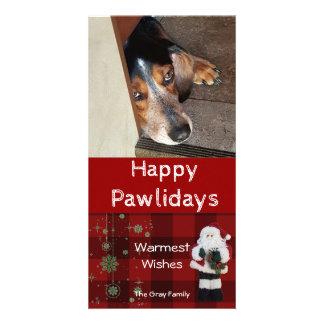 Personalized Pet Photo | Happy Pawlidays Santa Card