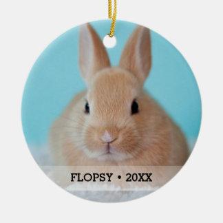 Personalized Pet Rabbit Photo Name Christmas Tree Ceramic Ornament