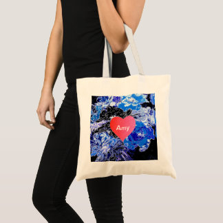 """Personalized """"peter max art style"""" love flowers tote bag"""
